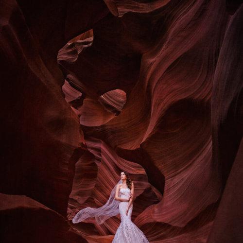 Bridal portrait taken in Antelope Canyon, AZ