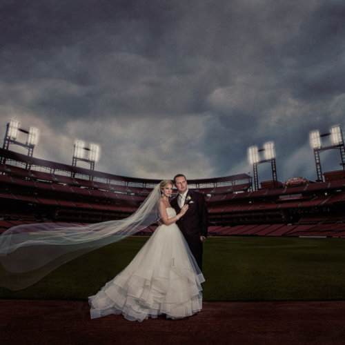Bride & Groom at Busch Stadium in St. Louis, MO