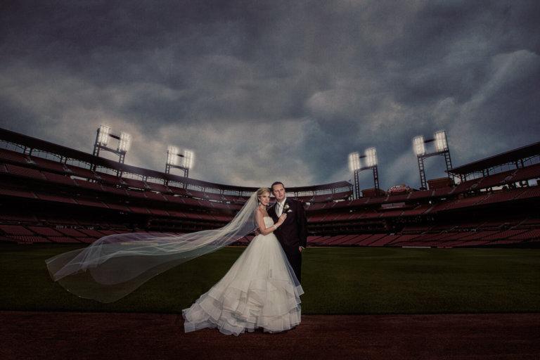 Bride & Groom at Busch Stadium in St. Louis, MO