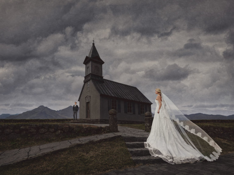 Bride walking to a church