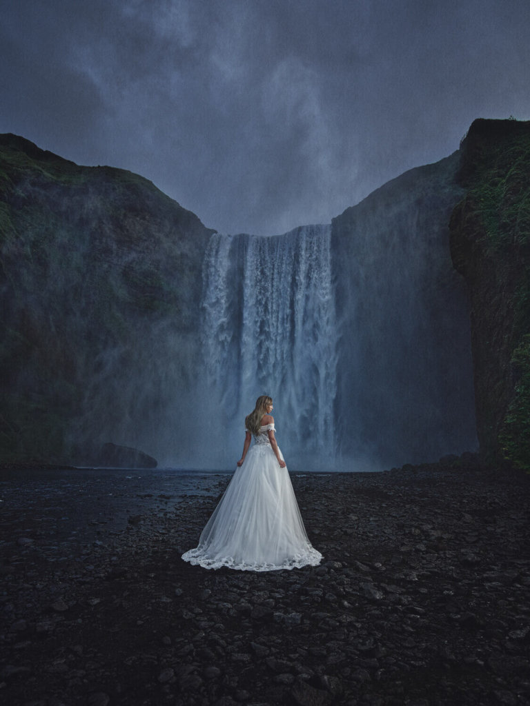 Bridal Portrait in front of a waterfall