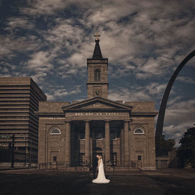 Couple walking to a church in downtown St. Louis