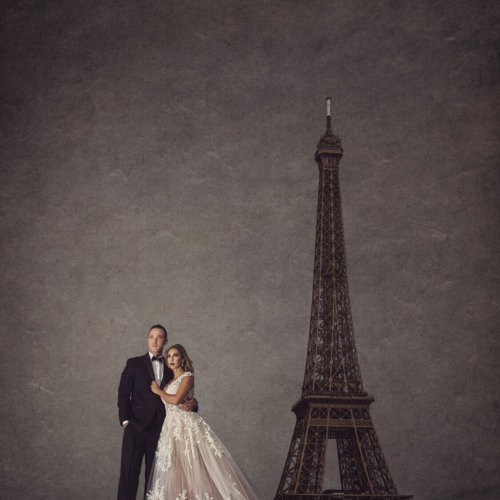 Bride & Groom photos in front of the Eiffel Tower in Paris