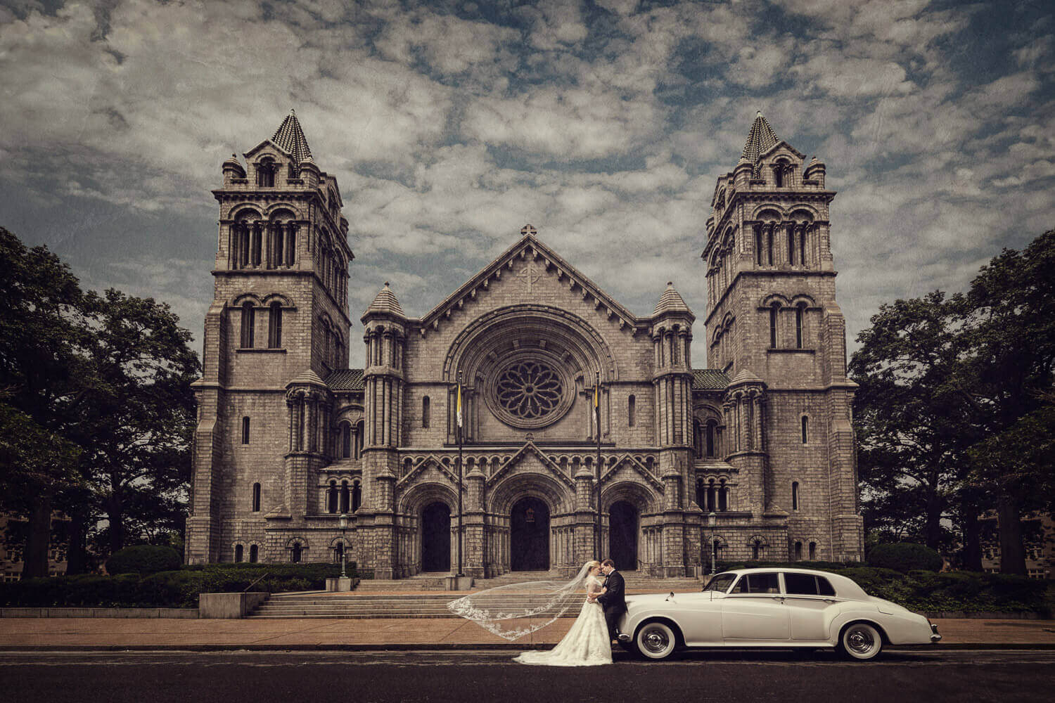 Wedding couple outside a church in St. Louis
