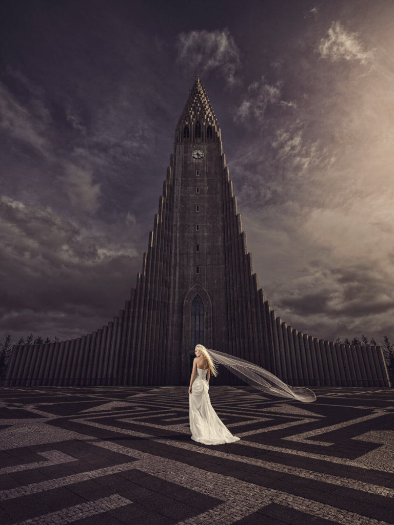 Bridal portrait in Iceland