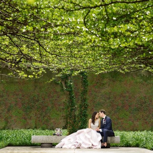 Wedding couple in a park