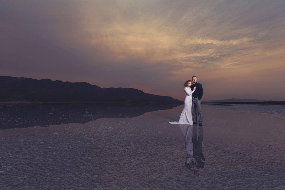 Bride & Groom in the Utah Salt Flats