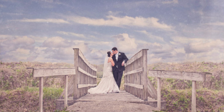 Bride & Groom on a bridge