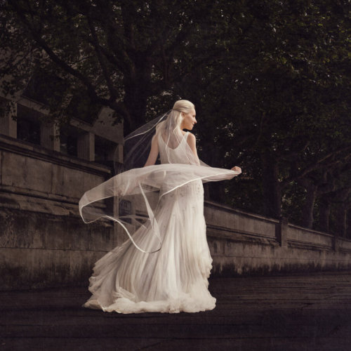 Bride walking down the street