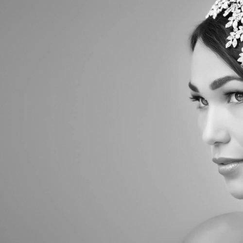 Black & white bridal portrait with floral headpiece