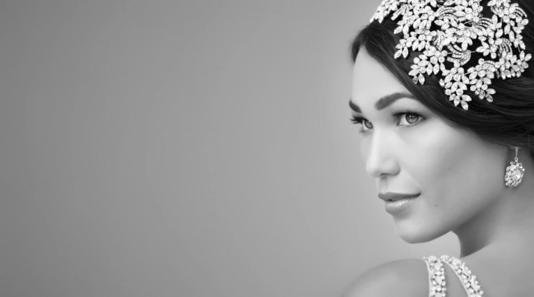 Black & white bridal portrait with floral headpiece