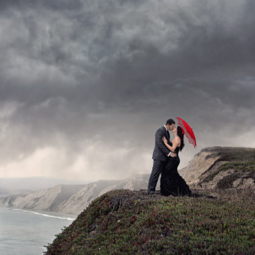 Wedding Couple on a cliff by the ocean