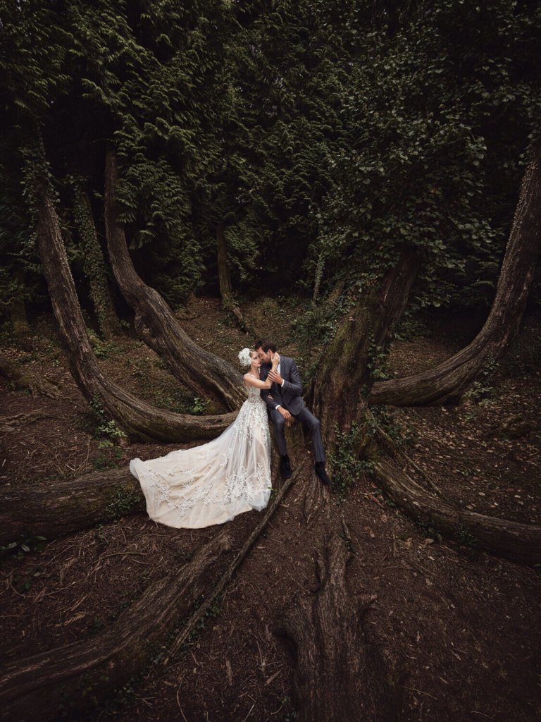 Bride & Groom in the forest