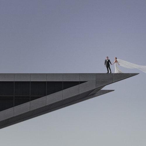 Bride & Groom on a tall building
