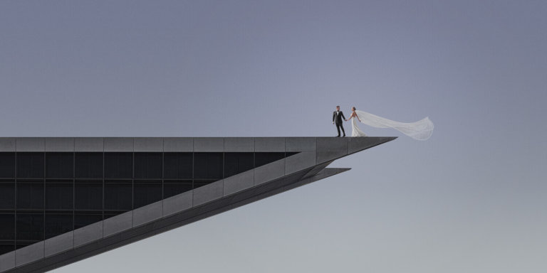 Bride & Groom on a tall building