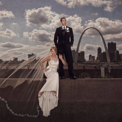 bride & groom near the arch in St. Louis MO